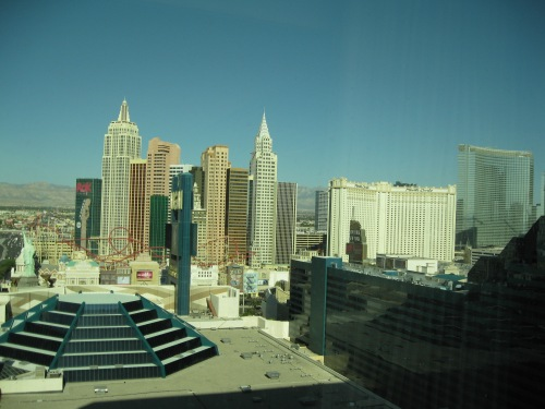 This was the view from our suite.  You can see New York-New York, the Monte Carlo, and the new CityCenter project, a joint effort of MGM-Mirage and Dubai World.  Jealous?