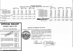 Ballots cast in the 1959 Referendum on Hawaiian Statehood